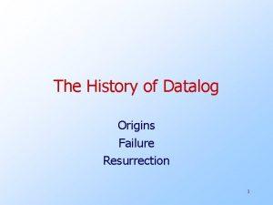 The History of Datalog Origins Failure Resurrection 1