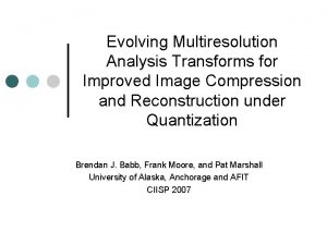 Evolving Multiresolution Analysis Transforms for Improved Image Compression
