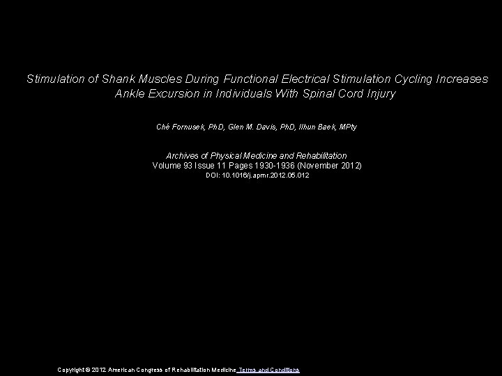 Stimulation of Shank Muscles During Functional Electrical Stimulation