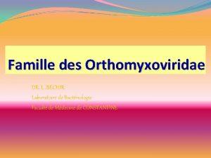 Famille des Orthomyxoviridae DR L BECHIR Laboratoire de