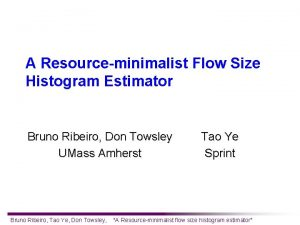 A Resourceminimalist Flow Size Histogram Estimator Bruno Ribeiro