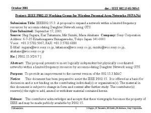 October 2001 doc IEEE 802 15 01305 r