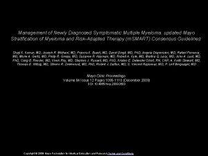 Management of Newly Diagnosed Symptomatic Multiple Myeloma updated