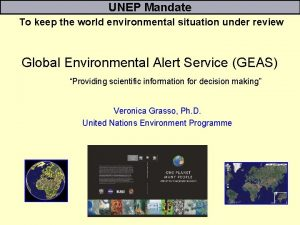 UNEP Mandate To keep the world environmental situation