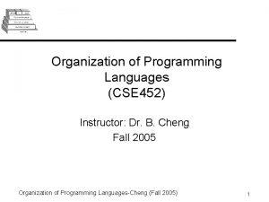 Organization of Programming Languages CSE 452 Instructor Dr