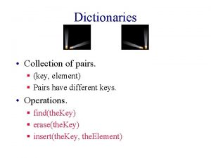 Dictionaries Collection of pairs key element Pairs have