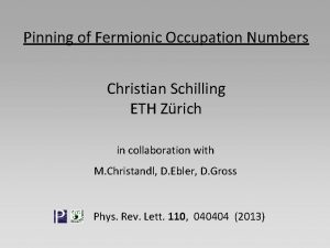 Pinning of Fermionic Occupation Numbers Christian Schilling ETH