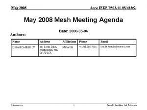 May 2008 doc IEEE P 802 11 08462