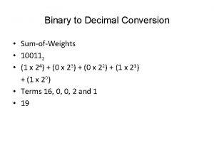 Binary to Decimal Conversion SumofWeights 100112 1 x