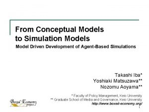 From Conceptual Models to Simulation Models Model Driven