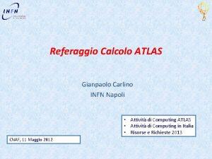 Referaggio Calcolo ATLAS Gianpaolo Carlino INFN Napoli Attivit