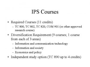 IPS Courses Required Courses 11 credits TC 800