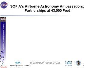 SOFIAs Airborne Astronomy Ambassadors Partnerships at 43 000