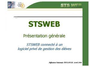 STSWEB Prsentation gnrale STSWEB connect un logiciel priv