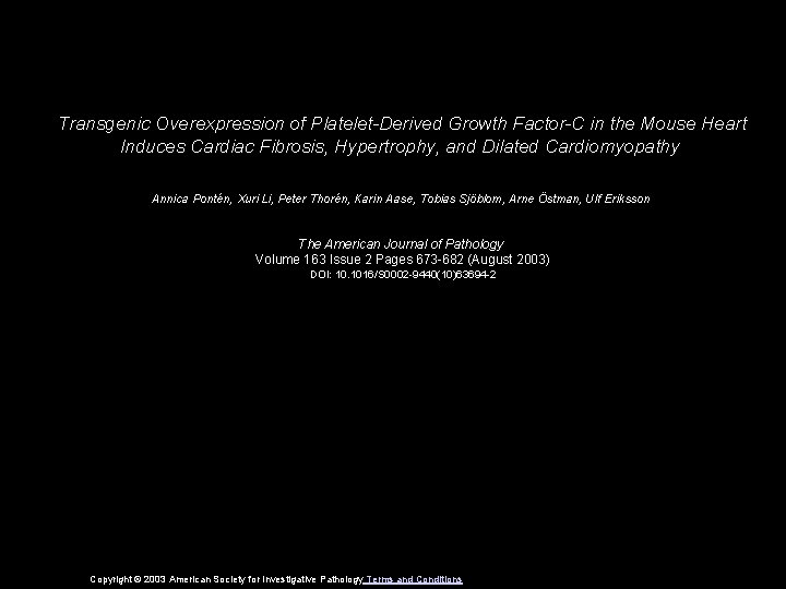 Transgenic Overexpression of PlateletDerived Growth FactorC in the