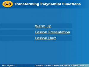 6 8 Transforming Polynomial Functions 6 8 Transforming