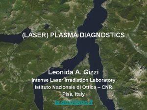 LASER PLASMA DIAGNOSTICS Leonida A Gizzi Intense Laser