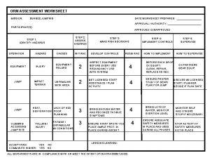 ORM ASSESSMENT WORKSHEET MISSION BUNGEE JUMPING DATE WORKSHEET