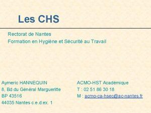 Les CHS Rectorat de Nantes Formation en Hygine