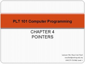 PLT 101 Computer Programming CHAPTER 4 POINTERS Lecturer