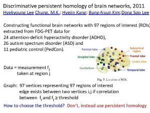 Discriminative persistent homology of brain networks 2011 Hyekyoung