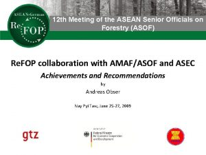 12 th Meeting of the ASEAN Senior Officials