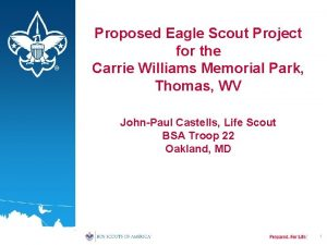 Proposed Eagle Scout Project for the Carrie Williams