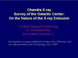 Chandra Xray Survey of the Galactic Center On