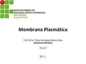Membrana Plasmtica Prof M Sc Fbio Henrique Oliveira