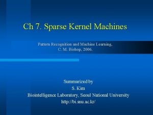 Ch 7 Sparse Kernel Machines Pattern Recognition and