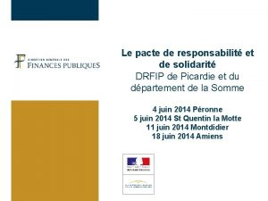 Le pacte de responsabilit et de solidarit DRFIP