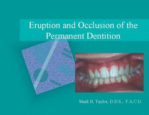 Eruption and Occlusion of the Permanent Dentition Mark
