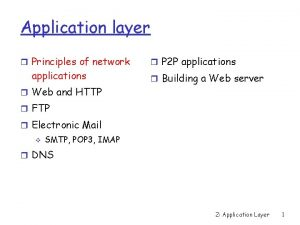 Application layer Principles of network applications Web and