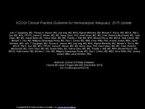 KDOQI Clinical Practice Guideline for Hemodialysis Adequacy 2015