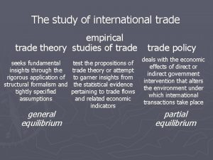 The study of international trade empirical trade theory