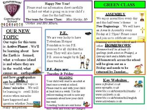 Happy New Year Please read our information sheet