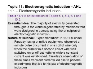 Topic 11 Electromagnetic induction AHL 11 1 Electromagnetic