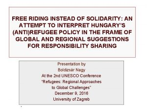 FREE RIDING INSTEAD OF SOLIDARITY AN ATTEMPT TO
