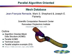 Parallel Algorithm Oriented Mesh Database JeanFranois Remacle Mark