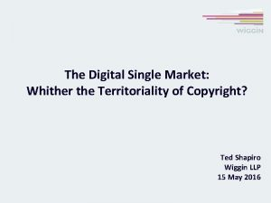 The Digital Single Market Whither the Territoriality of