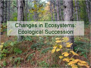 Changes in Ecosystems Ecological Succession Ecological Succession Natural