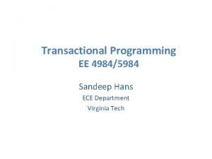 Transactional Programming EE 49845984 Sandeep Hans ECE Department