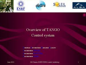 Overview of TANGO Control system EUROPEAN SYNCHROTRON RADIATION