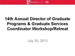 14 th Annual Director of Graduate Programs Graduate