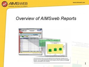 Overview of AIMSweb Reports 1 Viewing Reports From