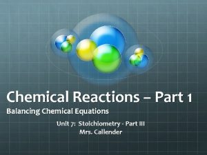 Chemical Reactions Part 1 Balancing Chemical Equations Unit