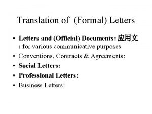 Translation of Formal Letters Letters and Official Documents