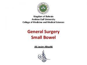 Kingdom of Bahrain Arabian Gulf University College of