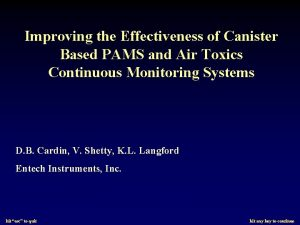Improving the Effectiveness of Canister Based PAMS and