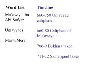 Word List Timeline Muawiya ibn Abi Sufyan 660